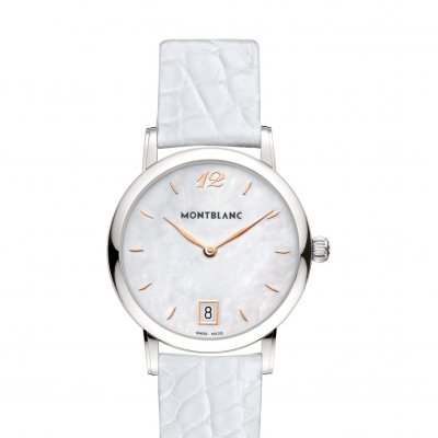 Mont Blanc Star Classique 108765 White Leather, Quartz, 34 mm