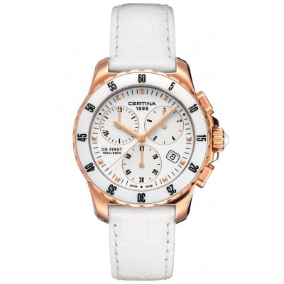 Certina DS First C014.217.36.011.00 LADY CERAMIC, Quartz Chronograph, 34.8 mm