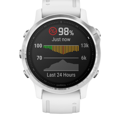 Garmin Fenix 6S, Silver, White band 010-02159-00 42 mm, Sklíčko Corning® Gorilla® Glass